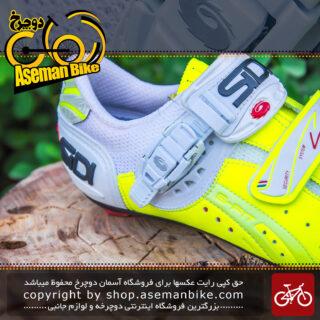 کفش دوچرخه کورسی جاده قفل شو لاک سی دی ایتالیا مدل جنیوس 5 فیت کربن سفید زرد SIDI Shoes Road Genius 5 Fit Carbon