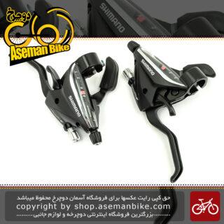دسته دنده و دسته ترمز یکپارچه شیمانو مدل آسرا اس تی ای اف 65 3 در 8 سرعته Shimano Shifter And Brake Lever Bicycle Acera ST-EF65 3×8 Speed