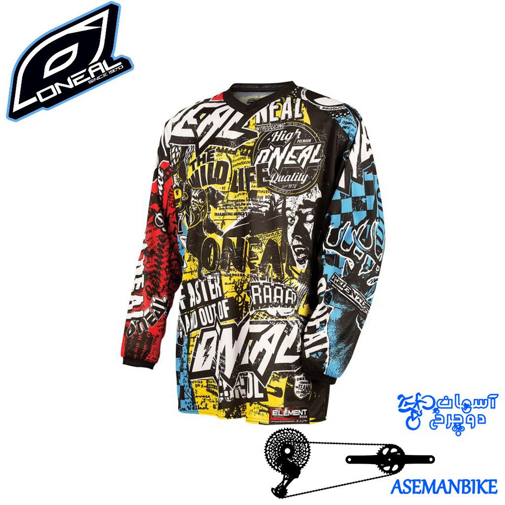 پیراهن دوچرخه دانهیل اونیل مدل وایلد مولتی Oneal Element Jersey WILD Multi