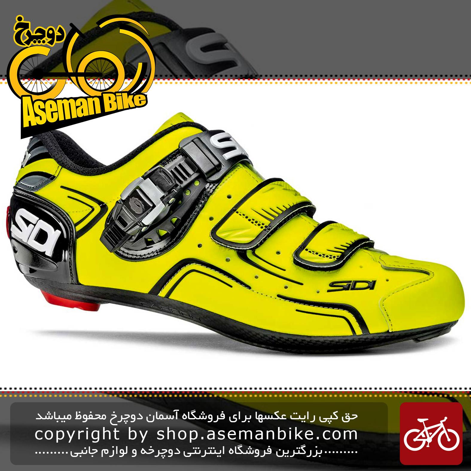 کفش دوچرخه سواری کورسی جاده سی دی ایتالیا مدل لول مشکی زرد SIDI On Road Shoes Italy Carbon LEVELYellow Fluo Black