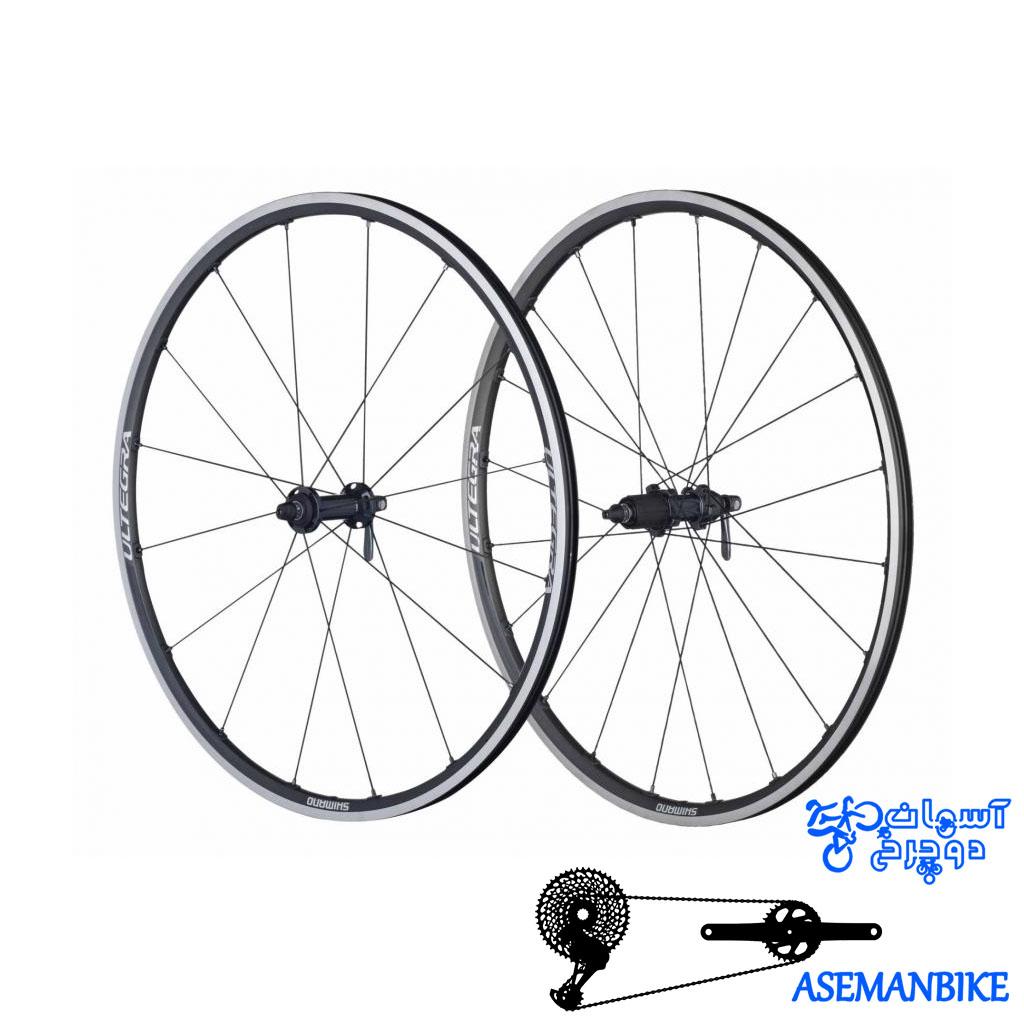 طوقه کامل عقب و جلو دوچرخه کورسی جاده شیمانو التگرا Shimano WH 6800 ULTEGRA