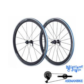 طوقه کامل عقب و جلو دوچرخه کورسی ار اس 81 لبه بلند کربن Shimano WH RS81 C50 CL CARBON