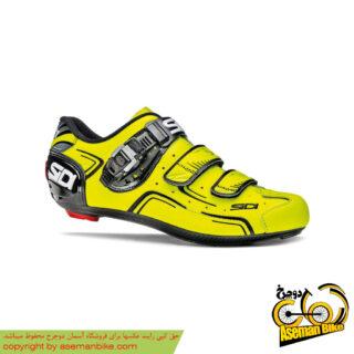 کفش دوچرخه سواری کورسی جاده سی دی ایتالیا مدل لول سایز 42 مشکی زرد SIDI On Road Shoes Italy LEVEL