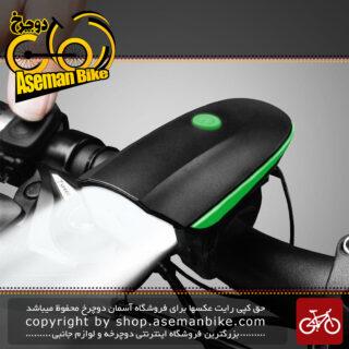 چراغ جلو دوچرخه سواری با بوق باطری دار مدل اف وای 056 Bicycle Horn Lights FY-056