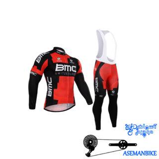 لباس دوچرخه ست کامل پیراهن شلوار دوبنده بی ام سی Cycling Jersey Bib Pants Set BMC