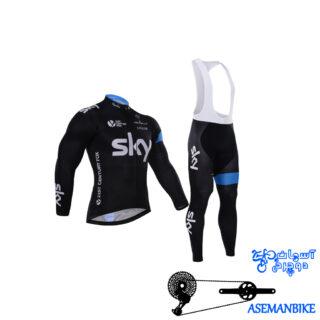 لباس دوچرخه ست کامل پیراهن شلوار دوبنده اسکای Cycling Jersey Bib Pants Set SKY