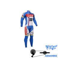 لباس دوچرخه ست کامل پیراهن شلوار دوبنده ساکسو بنک Cycling Jersey Bib Pants Set Saxo Bank