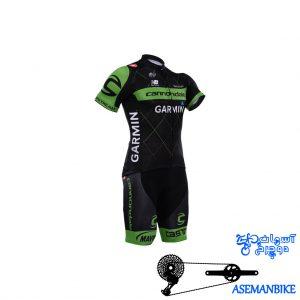 لباس دوچرخه ست کامل پیراهن شورت دوبنده گارمین Cycling Jersey Bib Shorts Set Garmin