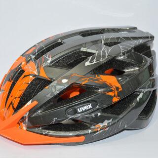 کلاه دوچرخه یوکس آلمان مدل آی و سی نقره ای تیره نارنجی Uvex Helmet I-VO C