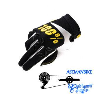 دستکش دوچرخه سواری صد در صد مدل ایرماتیک مشکی زرد 100% Gloves AIRMATIC