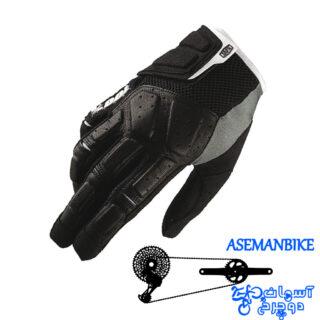 دستکش دوچرخه سواری صد در صد مدل سیمی مشکی خاکستری مدیوم 100% Gloves SIMI