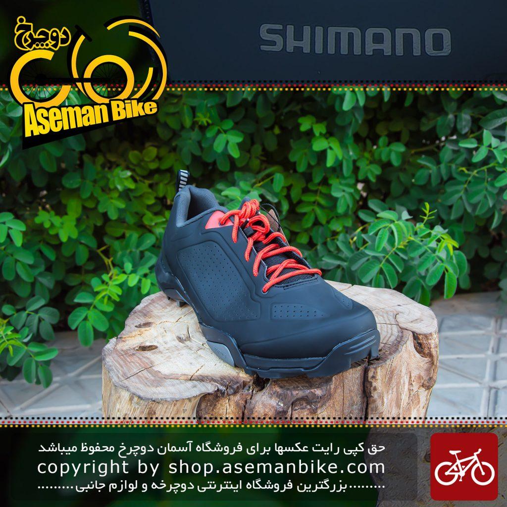 کفش دوچرخه کوهستان قفل شو شیمانو مدل ام تی 300 مشکی Shimano Lock Shoes MT300