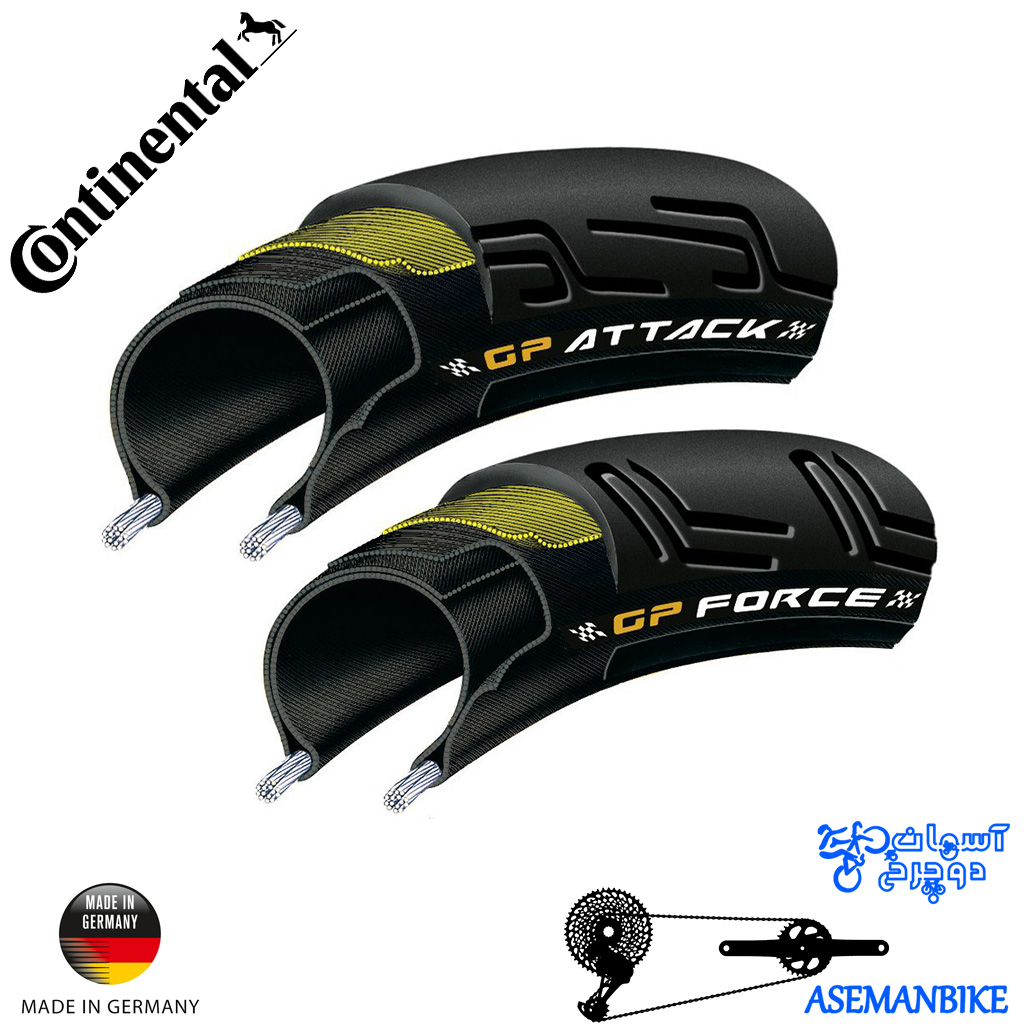 ست تایر تاشو دوچرخه جاده حرفه ای کنتیننتال گرند پریکس اتک و گرند پریکس فورس Continental GP Attack & GP Force Folding Tire Set
