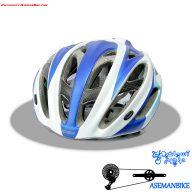 کلاه دوچرخه سواری کربن جاینت مدل آرس آبی و سفید Giant Helmet Ares Crabon Fiber Blue White