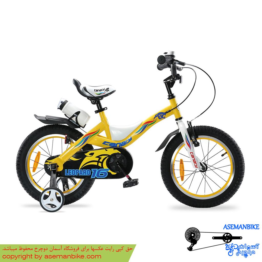 دوچرخه شهري قناري مدل لئوپارد زرد سايز 16 Canary City Bicycle Leopard 16