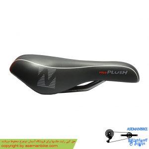زین دوچرخه ولو مدل پلاش مشکی خط دار Velo Saddle Plush