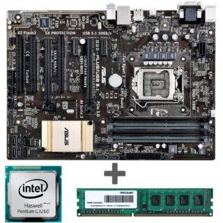مادربرد ايسوس مدل B85-PLUS/USB 3.1 به همراه پردازنده اينتل مدل G3260 و رم DDR3 1600MHZ پاتريوت با ظرفيت 4 گيگابايت