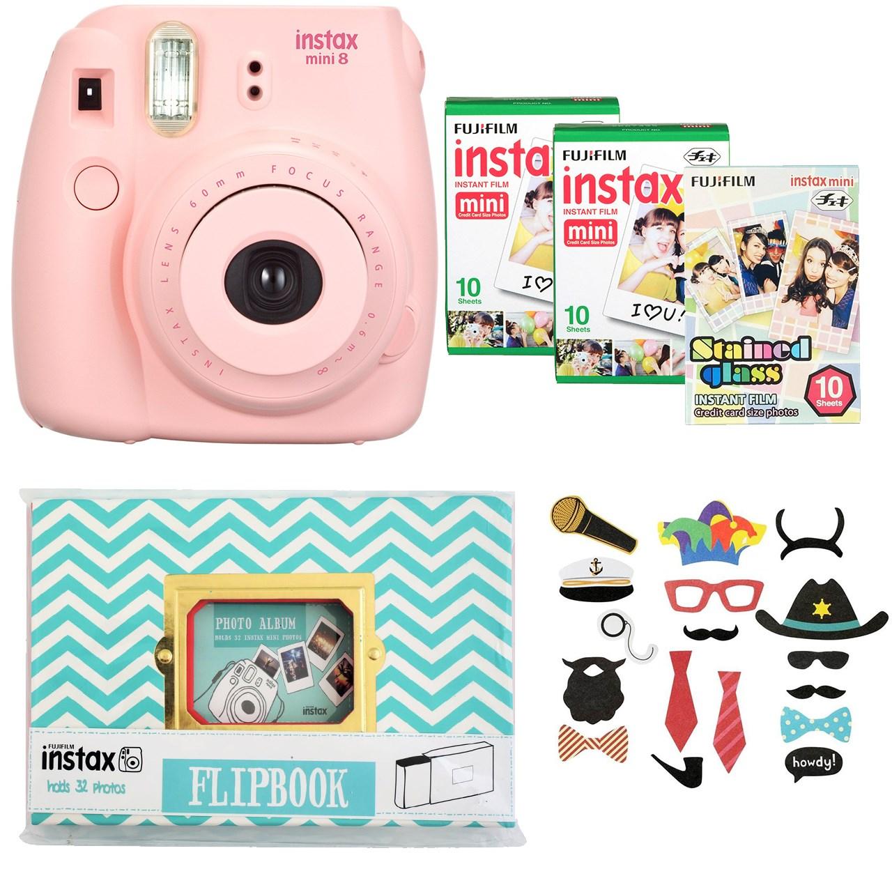 دوربين عکاسي چاپ سريع فوجي فیلم مدل Fujifilm Instax Mini 8 Digital Camera With Flipbook, 3 Films And Photo Stickers