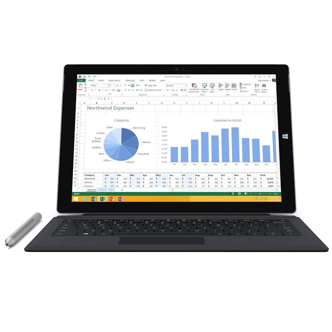 تبلت مايکروسافت مدل Surface Pro 3 - A به همراه کيبورد ظرفيت 256 گيگابايت