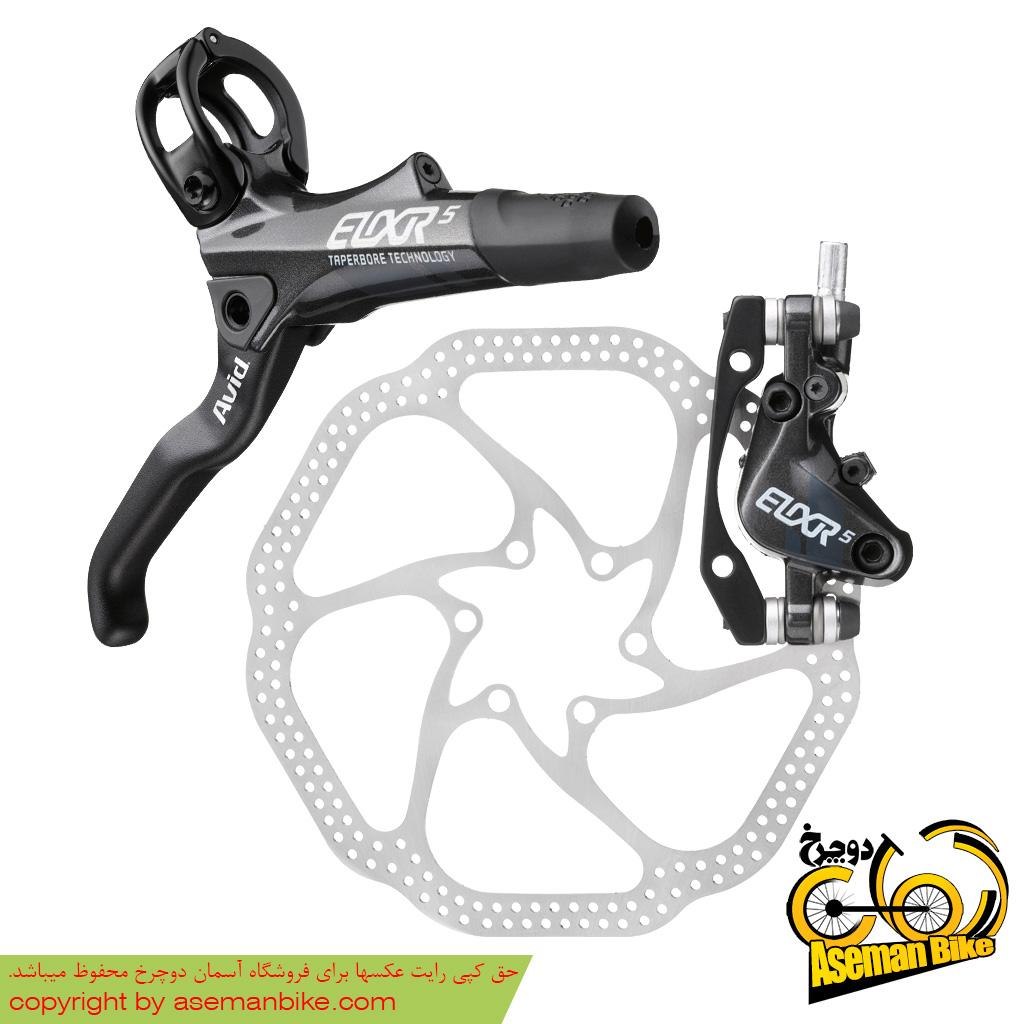 ترمز عقب همراه با روتور صفحه دیسک دوچرخه کوهستان اوید الیکسیر 5 160 اچ اس وان مشکی Avid Elixir 5 Disc Hydraulic Disc Brake Rear 160 HS1