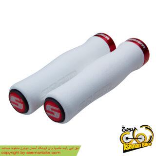 گریپ دوچرخه اسرم فوم قرمز سفید SRAM Lock On Grips Foam White/Red