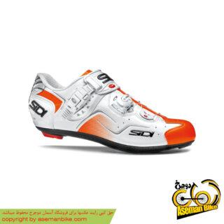 کفش دوچرخه سواری کورسی جاده سی دی ایتالیا مدل کاوس سفید نارنجی SIDI On Road Shoes Italy Ckaos