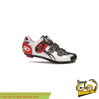 کفش دوچرخه کورسی جاده قفل شو لاک سی دی ایتالیا مدل جنیوس 5 فیت کربن سفید مشکی قرمز SIDI Shoes Road Genius 5 Fit Carbon