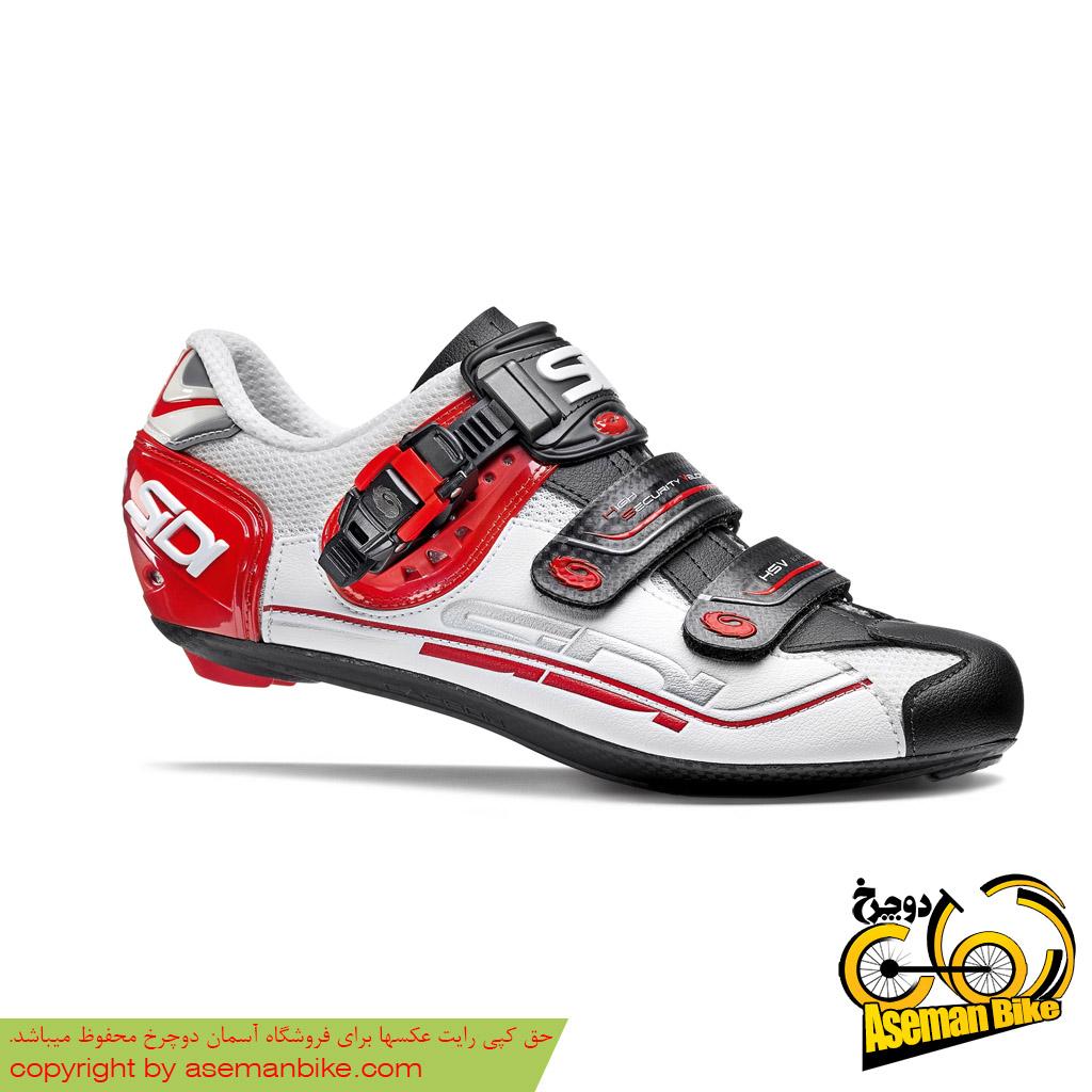 کفش دوچرخه کورسی جاده قفل شو لاک سی دی ایتالیا مدل جنیوس 5 فیت کربن سفید قرمز SIDI Shoes Road Genius 5 Fit Carbon