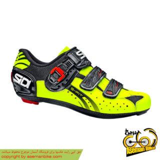 کفش دوچرخه کورسی جاده قفل شو لاک سی دی ایتالیا مدل جنیوس 5 فیت کربن زرد مشکی SIDI Shoes Road Genius 5 Fit Carbon