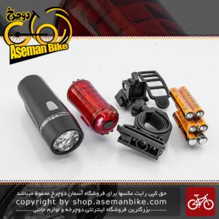 مجموعه ست چراغ جلو و عقب دوچرخه شکاری برند ایکس سی مدل 100 سی ، 102 Bicycle Light Set Front and Rear XC-100C102 Rear Light 5 Red LED Head Light 5 White LED