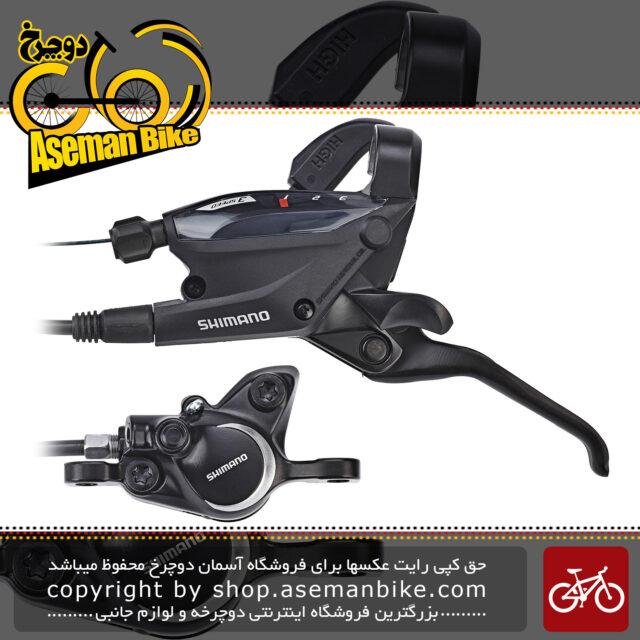 ترمز دوچرخه جلو و عقب دیسکی روغن هیدرولیکی شیمانو همراه با دسته دنده 3 در 8 24 سرعته با کالیپر ام 315 Shimano EF505 Disc Brake Front And Rear 3x8 Speed Br M315 black