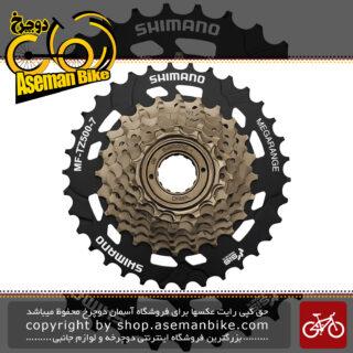 خودرو پیچی دوچرخه شیمانو مدل ام اف تی زد 500 مگا رنج 7 سرعته 14-32 دندانه Shimano Road Cassette MF-TZ 500 7 Speed 14-32T Megarange