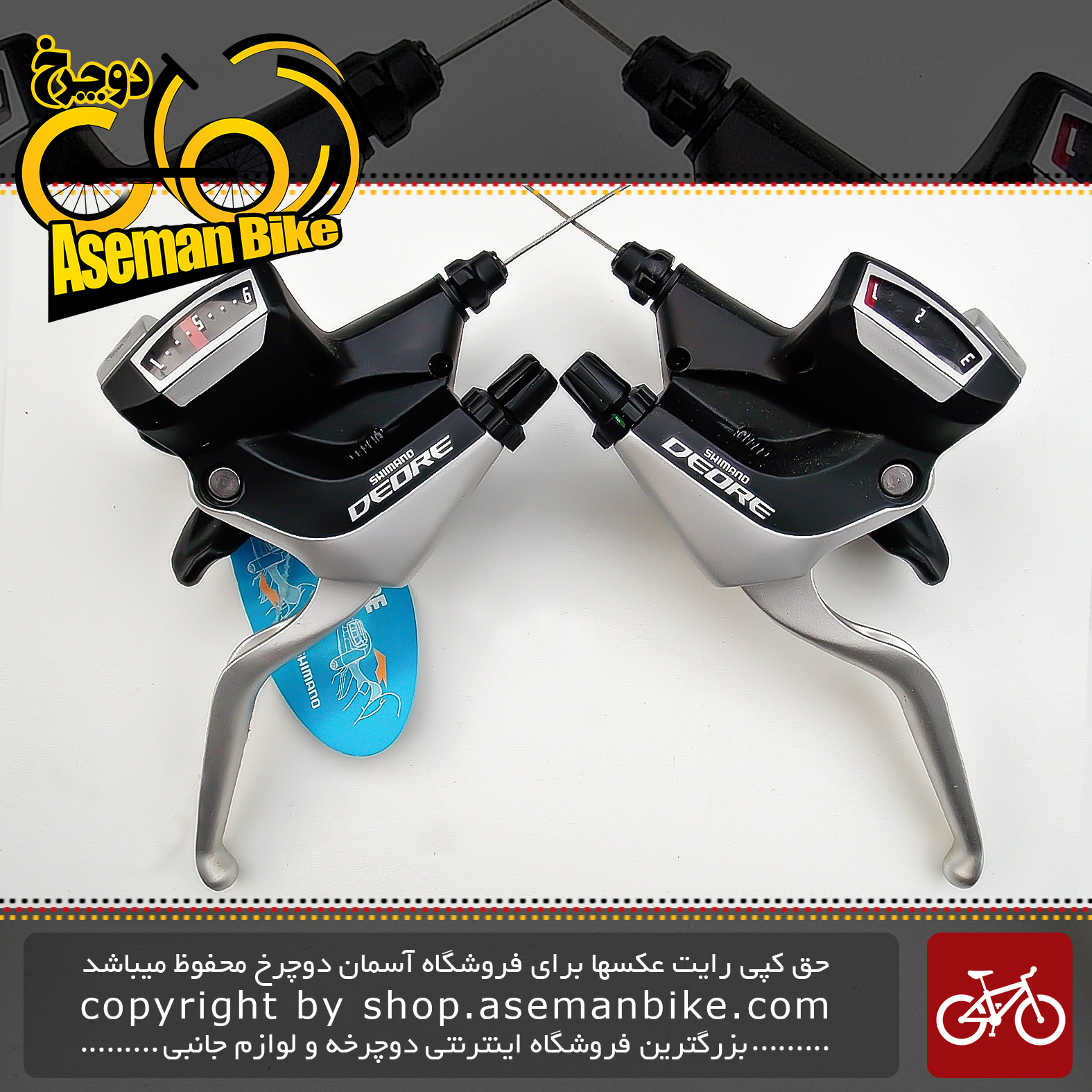 دسته دنده و دسته ترمز یکپارچه شیمانو مدل دیور ام 590 3 در 9 سرعته ساخت ژاپن Shimano Shifter And Brake Lever Bicycle Deore ST-M590 3×9 Speed Japan