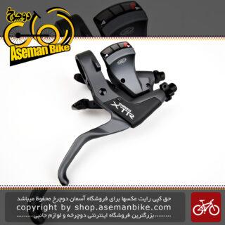 دسته دنده و دسته ترمز یکپارچه شیمانو مدل ایکس تی آر اس تی ام 952 3 در 9 سرعته ساخت ژاپن Shimano Shifter And Brake Lever Bicycle XTR ST-M952 3×9 Speed Japan