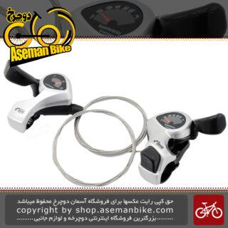 دسته دنده دوچرخه شیمانو مدل تامبر شیفت کلاجدار پلاس اس ال تی ایکس 50 3 در 7 سرعته Shimano Tourney SL-TX50 3x7 Speed Thumbershifters Plus