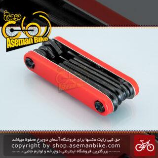 دسته آچار آلن دوچرخه تولی پارتز چند کاره مدل ام 80 قرمز Tooly Parts Bicycle Allen-Set Multi-Tool M80 Red