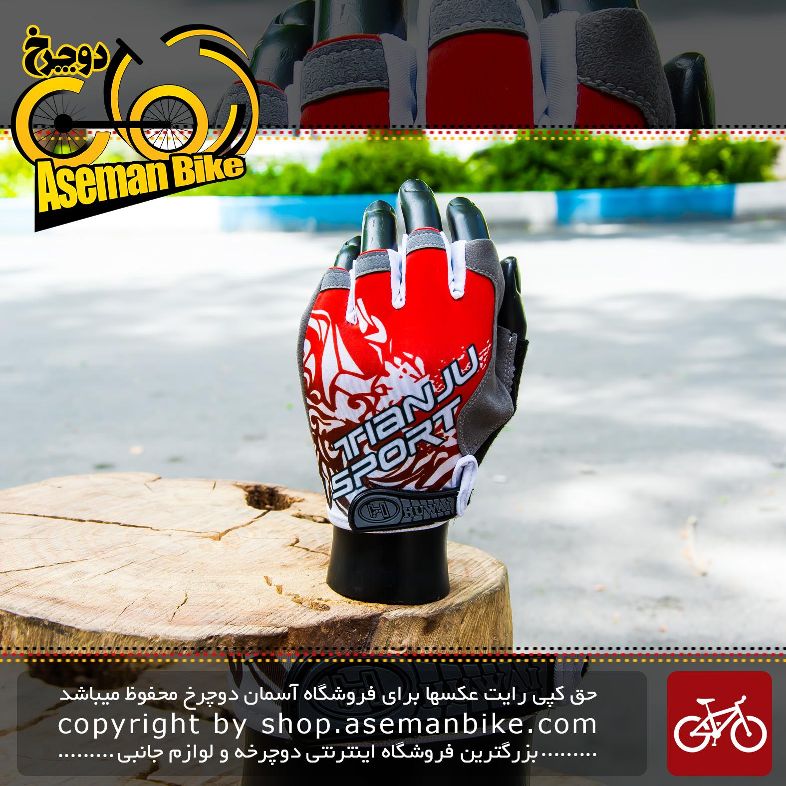 دستکش دوچرخه سواری مدل تیانجو ژله ای اسپرت Gloves Bicycle Tianju Gel Sport Red