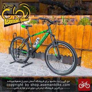 دوچرخه ی کوهستان رامبو مدل جوردن سایز 26 با سیستم دنده ی 21 سرعته مشکی سبز 2020 Bicycle Rambo Jordan MTB Size 26 21 Speed Black & Green 2020
