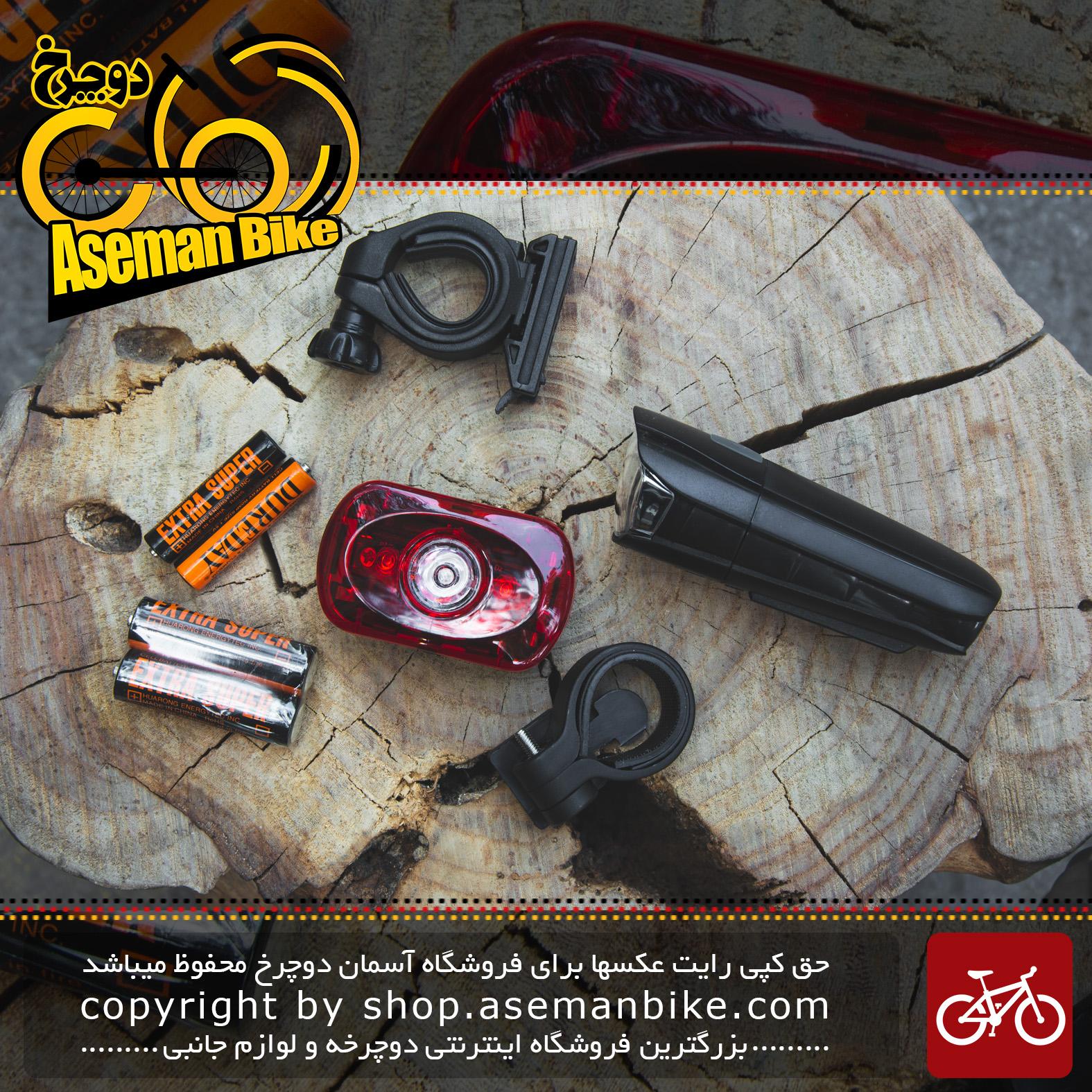 ست چراغ قوه جلو عقب دوچرخه برند شکاری مدل 008 Shekari Bicycle Light 008
