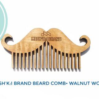 شانه چوب گردو مخصوص ریش و سبیل مشکی برند مدل اس ال آر 1313 Meshki Brand Beard Comb Walnut Wood SLR1313