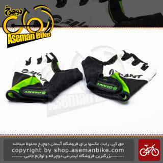 دستکش دوچرخه سواری جاینت نیم پنجه طرح پی بایت سبز مشکی Giant Bicycle Glove P-Byte Half Green Black