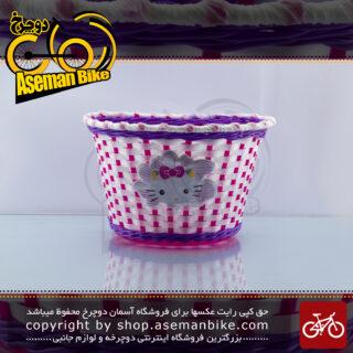 سبد دوچرخه بچه گانه بیبی لاکچری مدل کیتی سفید/صورتی/بنفش Baby Luxury Kids Bicycle Basket Kitty