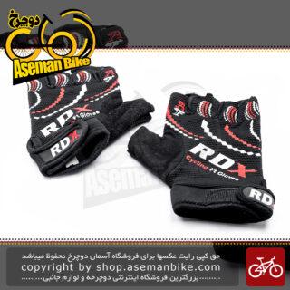 دستکش دوچرخه سواری آر دی ایکس سایکلینگ نیم پنجه مشکی قرمز RDX Cycling Glove Black Red Half
