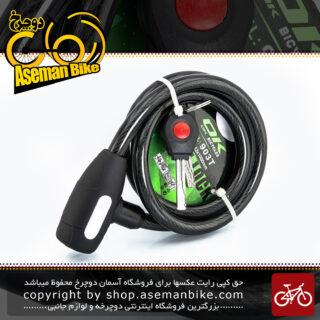 قفل کابلی سیم بکسلی کلیدی دوچرخه برند اوکی مدل 903 تی سایز 12 با طول 1000 میلیمتر مشکی Cable Lock Bicycle Brand Ok Size 12x1000 mm Model 903T BLACK