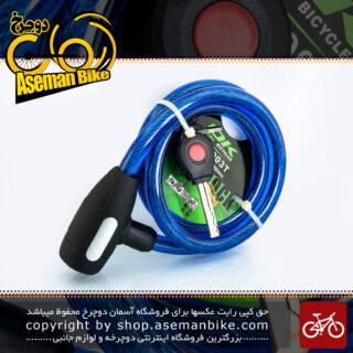 قفل کابلی سقفل کابلی سیم بکسلی کلیدی دوچرخه برند اوکی مدل 903 تی سایز 12 با طول 1000 میلیمتر آبی Cable Lock Bicycle Brand Ok Size 12x1000 mm Model 903T Blue