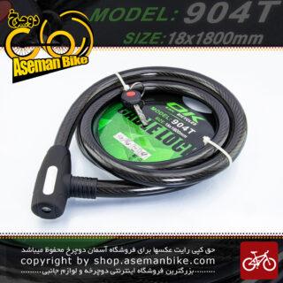قفل کابلی سیم بکسلی کلیدی دوچرخه برند اوکی مدل 904 تی سایز 18 با طول 1800 میلیمتر Cable Lock Bicycle Brand Ok Size 18x1800 mm Model 904T Black