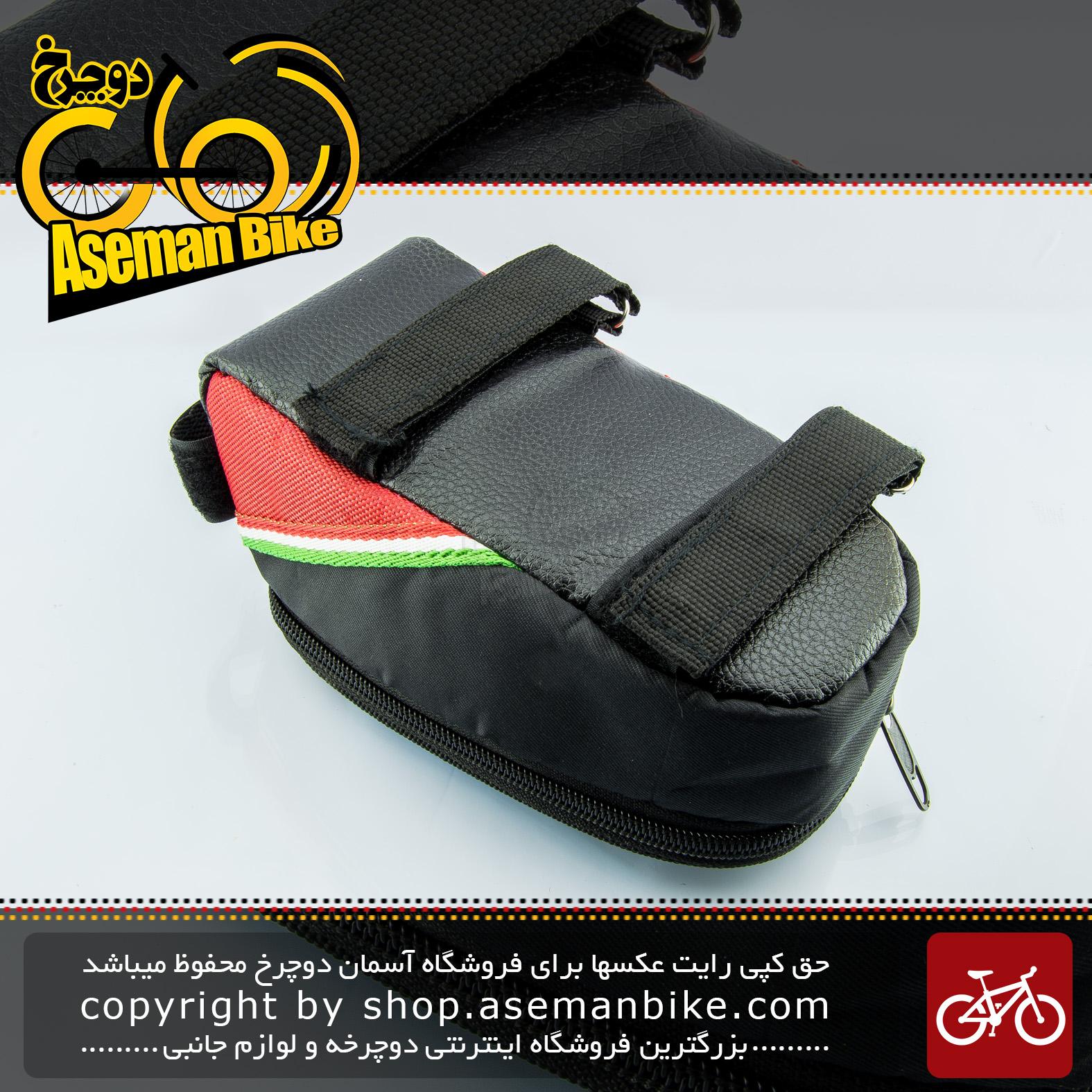 کیف روی فرمان دوچرخه نوین مدیوم نگهدارنده موبایل مشکی قرمز با قابلیت تاچ موبایل NOVIN Bike Handlebar Bag with Mobile Phone Holder, Bicycle Frame Top Tube Pouch, with Touch Screen Window