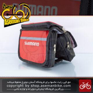 کیف روی تنه دوچرخه مرکوری مدل شیمانو لوگو قرمز هولدر موبایل Mercury Bicycle Frame Bag Shimano Logo Red