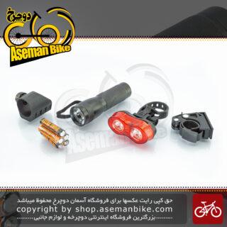 ست چراغ جلو و عقب دوچرخه اوکی یک وات ضد آب آلیاژ آلومینیوم مدل اکس سی 107151 OK Bicycle Light-Set 1 watt Water-Proof XC-107151 Black