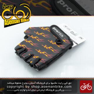 دستکش دوچرخه سواری رالی گروپ مدل پروفکس کش سان مشکی آتشی 1118 Rally Group Bicycle Gloves Profex Black Fired